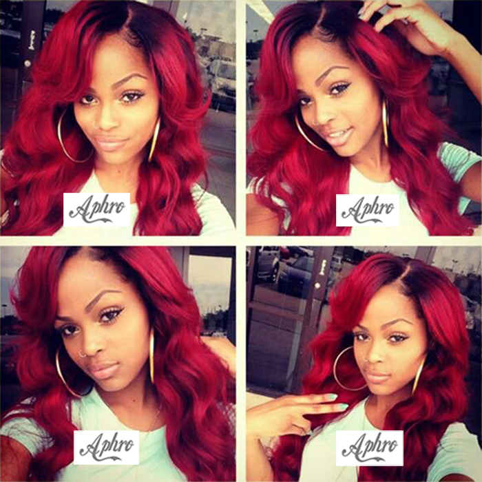 """Heat Resistant Two Tone Red Synthetic Lace Front Wig Dark Roots Wigs 150%-180% Density 10-26"""" Cheap Synthetic Full Lace Red Wigs(China (Mainland))"""