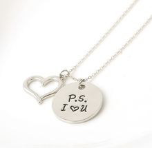 "Fashion New Alloy Jewelry ""PS love you"" Letter Pendant Necklace Circle women Necklaces Love Gifts Free shipping"