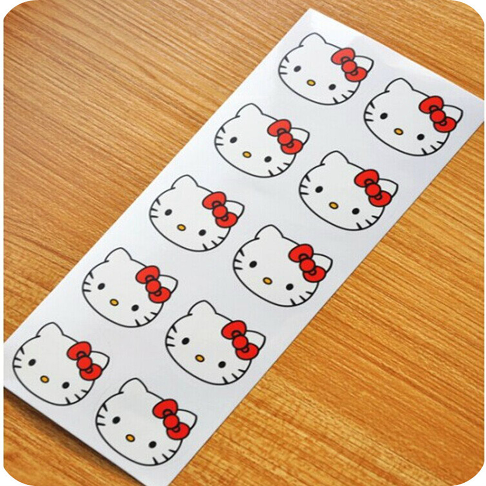 "100PCS ""Hello Kitty"" Seals Kraft Handmade Paper Sticker Labels Seal Favours Toppers Gift Cupcake Party(China (Mainland))"