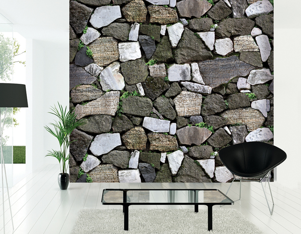HaokHome Modern Faux Stone Wallpaper Grey w/Green Grass Textured Brick Rolls Living room Bedroom Home Wall Decoration(China (Mainland))