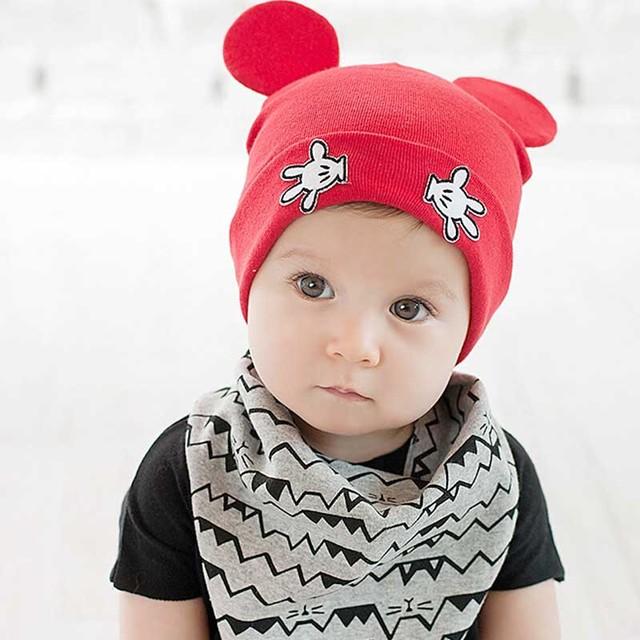 Хлопка крышки девушки парни мультфильм микки дизайн зимней шапке девушка шляпы вязания крючком с руки ребенка шапочки Chirstmas подарок