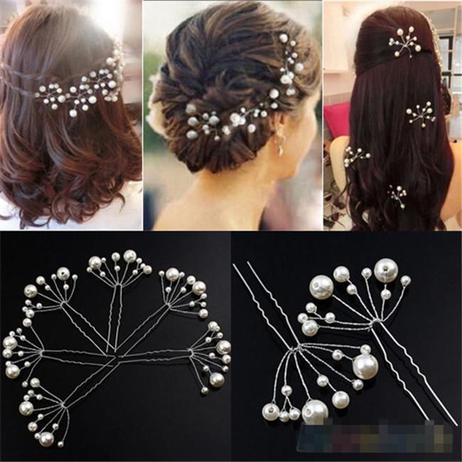 10PCS/LOT Fashion New Wedding Bridal Bridesmaid Pearls Hair Pins Clips Comb Headband J10284(China (Mainland))