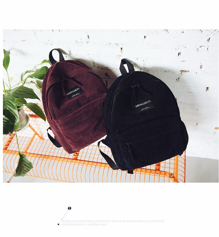 2016 New Women Backpack Preppy Style Suede Backpacks Teenage Girls School Bags Vintage Rivet Travel Backpack Burgundy Gray Black (47)