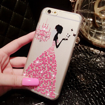 New ! Fancy Rhinestone wedding dress 3D Relief art luxury crystal hard back cover phone case for iPhone 6 4.7'' 5 5s(China (Mainland))