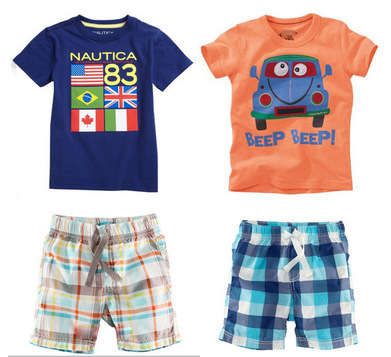 2015 Baby Boys Clothing Sets Retail Summer Beach Set Leisure Sports Suit Children's Boy's T-Shirt+Short Pants c15 - SNOW LOVE store