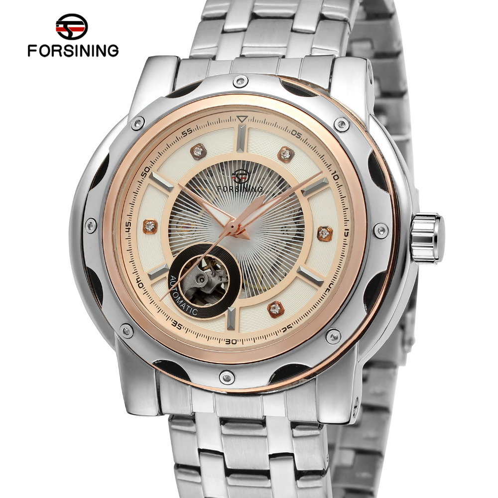 Forsining Mens Watch Vintage Stainless Steel Band White Dial with Stone Whole Sale  Automatic Wristwatch Color White FSG8091M4<br><br>Aliexpress