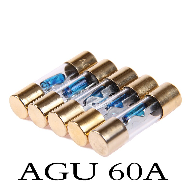 In stock 2PCS 60AMP 60A Car AGU Glass Fuse Gold Plated For Car Audio(China (Mainland))
