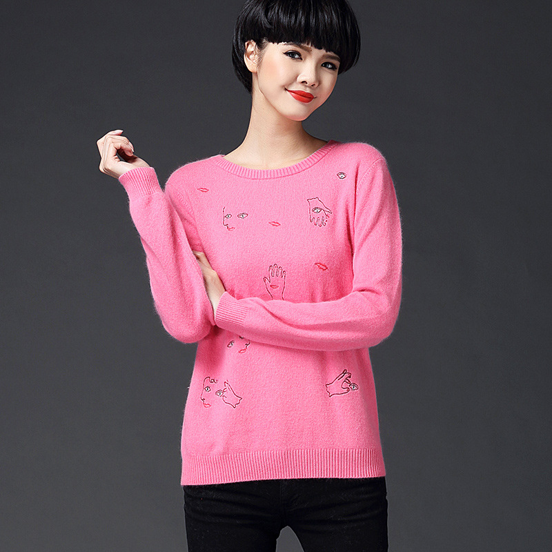 Autumn 2016 Women Sweaters and Pullovers Loose Cartoon Print Long Sleeve Sweater Casual Slim Sweaters Tops Y0105-173E