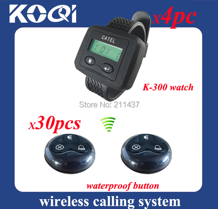 Wireless Restaurant Bell waiter paging system guest paging system ( 4 watch pager 30 table bell button)(China (Mainland))