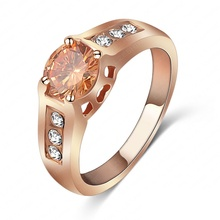 Fashion Jewelry LZESHINE Brand Orange Crystal Ring 18K Rose Gold Plated Ring Made With Genuine SWA Elements Wholesale ITL-RI0047