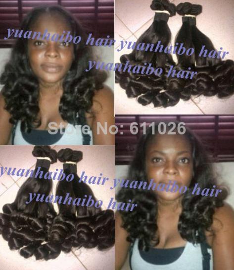 Top 6A Grade 3pcs/lot #1b tip bouncy curl virgin brazilian aunty funmi hair weft for black women free shipping<br><br>Aliexpress