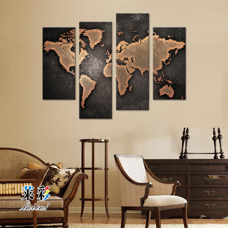 4 Piece World Map Picture Wall Art Canvas Printing Modular Decoration For Living Room Home Decor Artwork Unframed Free Shipping(China (Mainland))