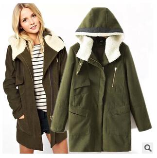 2014 new winter coats women's European and American style Slim thin woolen coat zipper hooded coat  trench coat for women DM277