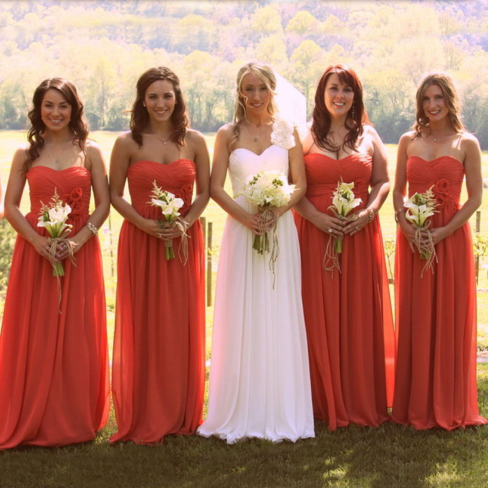 Backless Chiffon Coral Pink Bridesmaid Gowns 2016 New