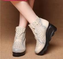 Gktinoo Mới Nữ Mùa Hè Da Bò Retro Da Thật Chính Hãng Da Đế Xuồng Cutout Mắt Cá Chân Giày Nữ Váy Đầm Giày Bán Phụ Nữ giày(China)