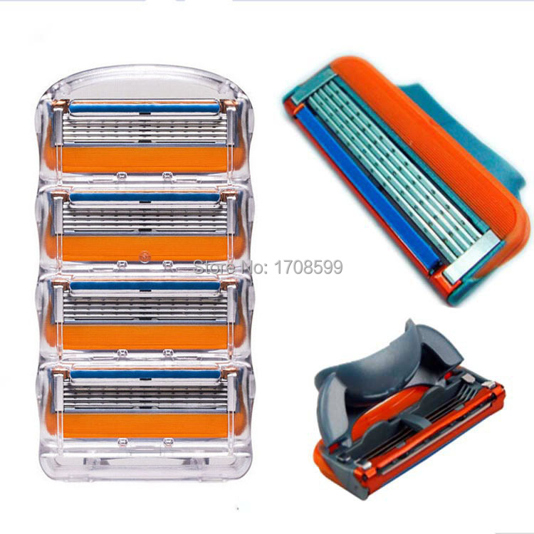 New brand 4pcs/lot Fusione Proglide Power 5 Men's Razor Blades High Quality Blade Grade AAA+ Standard for RU&Euro&US(China (Mainland))