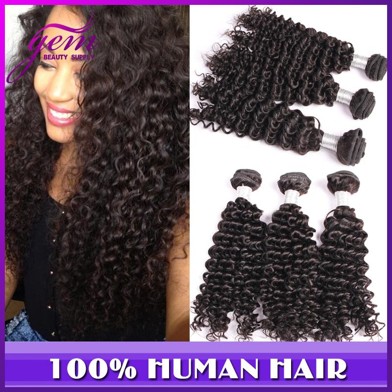Brazilian Deep Wave Brazilian Curly Virgin Hair 3pcs 300g Lot Brazilian Virgin Hair Kinky Curly Gem Vip Grace Hair Product Funmi(China (Mainland))