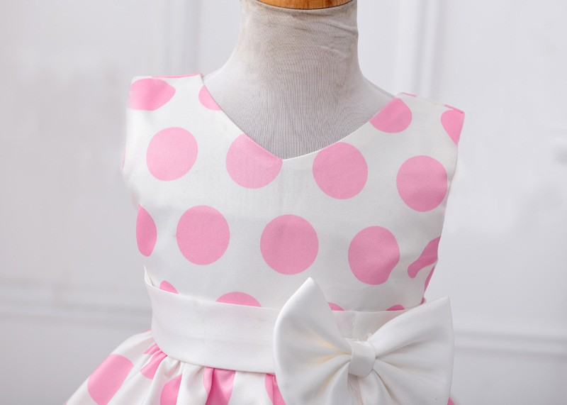 The new Europe and the United States sapphire wave point bowknot dress Girls dress theatrical performances