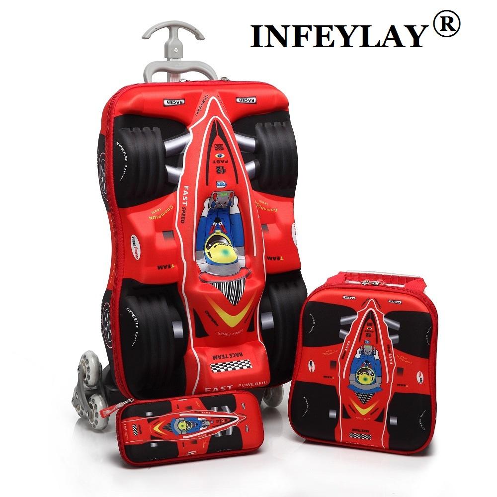 3PCS/set kids cars Travel Luggage 3D stereo Pull rod box cartoon child pencil box children COOL suitcase gift Boarding box(China (Mainland))