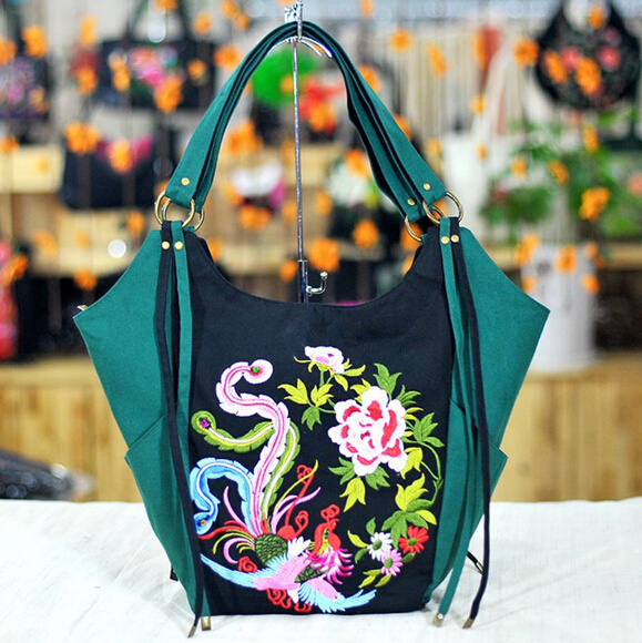 Womens Floral Embroidered Canvas Tote Bag