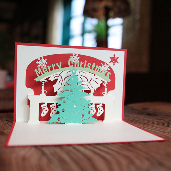 Creative 3D Pop Up Greeting Cards Christmas Tree Postcard Children Gift(China (Mainland))