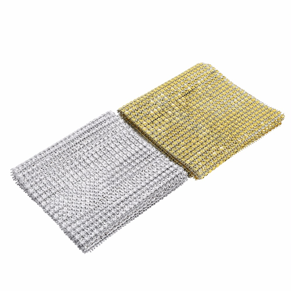W 24 Rows Diamond Mesh Ribbon Cake Stands Napkins Ornament Wedding Favor Decor Party Supplies Decoration Silver Gold(China (Mainland))