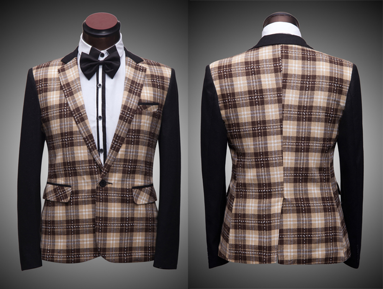 Free shipping mens check pattern printing tuxedo jacket stage performance/wedding/this is only jacket(China (Mainland))