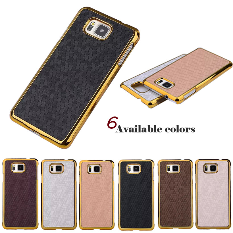 Luxury Style Square Grid Leather Chromed Edge Hard Case For Samsung Galaxy Alpha G850 G850Y G850F G8508S PC Mobile Phone Cover(China (Mainland))