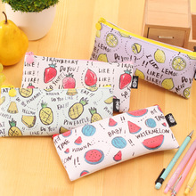 Buy Fresh Style Fruits Pu Leather Pencil Case Stationery Storage Organizer Bag School Office Supply Escolar for $1.35 in AliExpress store