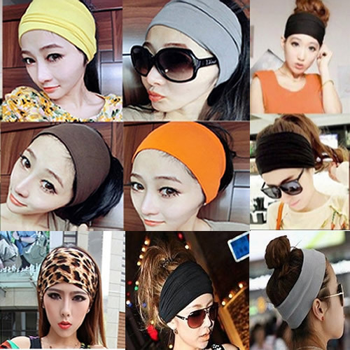 Style Women's Yoga Sport Dance Biker Wide Headband Stretch Ribbon Hairband Elastic Turban Hoop[30010] - HAISTER Healthy Store store