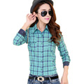 New female shirts women Plaid shirts cotton Slim top girl fashion long sleeve shirts plus size
