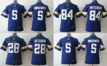 All stitched Youth Minnesota Vikings Kids children,#5 Teddy Bridgewater 28 Adrian Peterson 84 Cordarrelle Patterson(China (Mainland))
