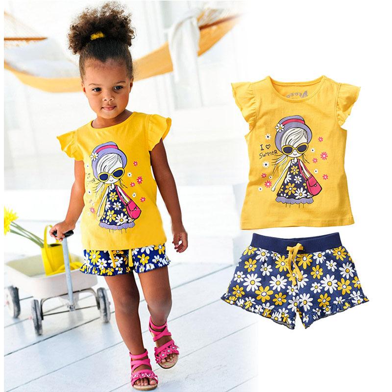 2015 Girls Summer Casual Clothes Set Children Short Sleeve Cartoon T-shirt + Short Pants Sport Suits Kids Clothing Sets CF105(China (Mainland))