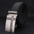 Cowhide Business Men Belt Black Leather Luxury Brand Designer Metal Auto Buckle Waistband cinto masculino