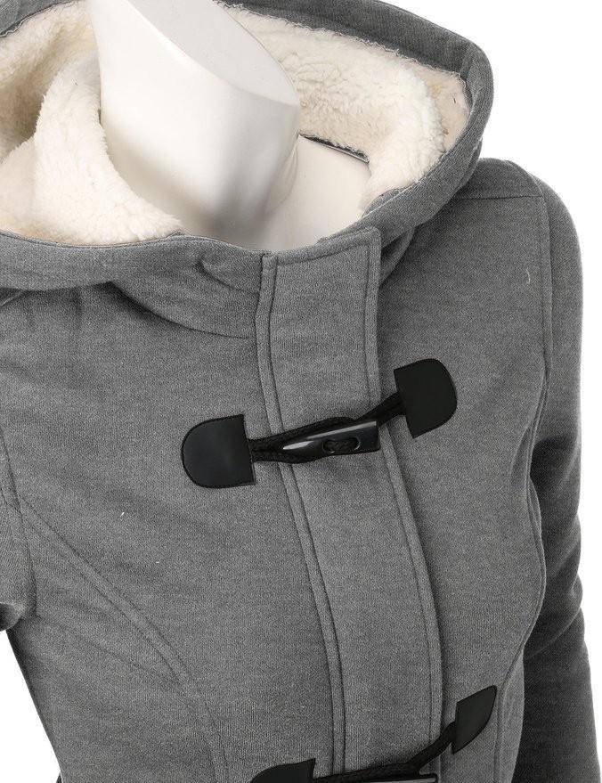 2016 New Fashion Women Winter Cotton Coat Wool Blend Slim Hooded cotton coat Zipper Horn Button Long section Coats Outerwear