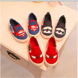 2015 children shoes cartoon character boys sport shoes kids casual superman batman spiderman canvas fashion sneakers shoes(China (Mainland))