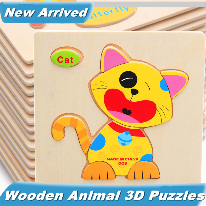 Baby Toys 5Pcs/Lot Child Educational Animals 3D Puzzle Wooden Toys Multistyle Birthday Gift Wholesale(China (Mainland))