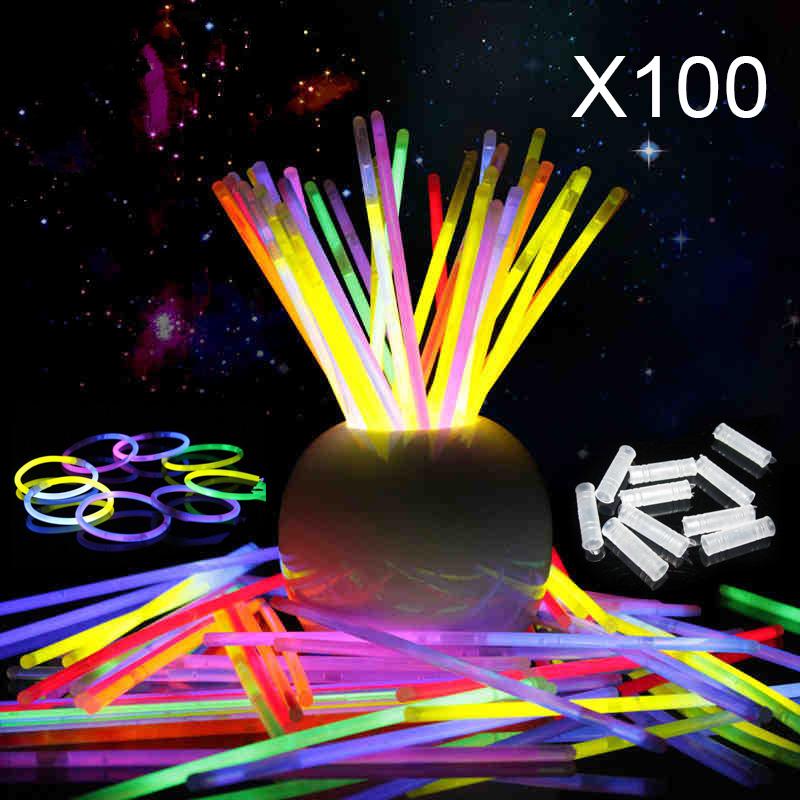100pcs 8 colors Glow Stick Light Bracelets Necklace Birthday Festive Party Vocal Concert Olympics Supplies Lighting(China (Mainland))