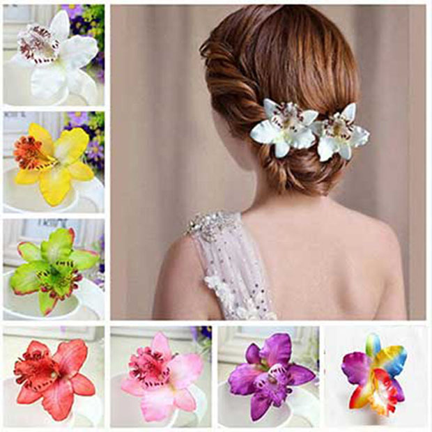 New Bohemia Style Orchid Peony Flowers Hair Clips Hairpins for Women Headwear Hair Accessories For Beach 6 colors Free Shipping(China (Mainland))
