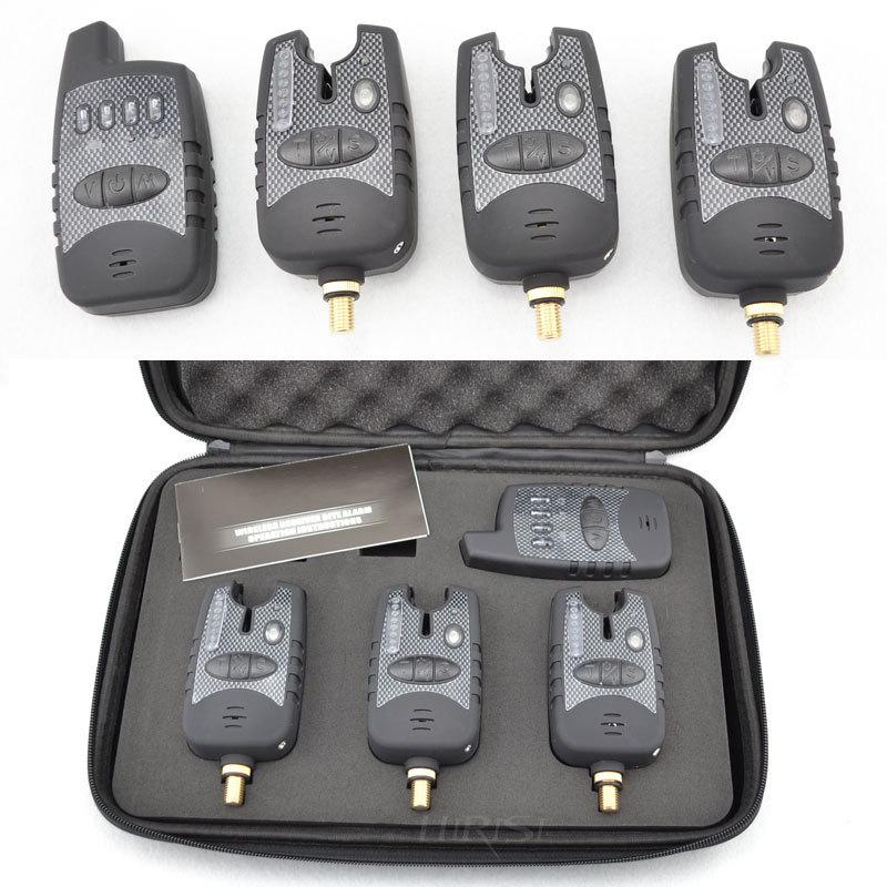 Carp fishing wireless bite alarm set digital fishing alarm set 1+3 with Tone Volume Sensitivity()