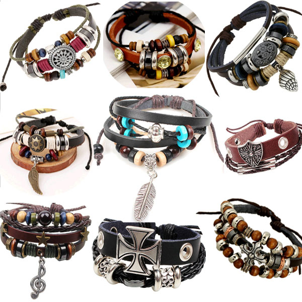 1P Retro rope leather mens bracelets leather rope hand woven bracelet for men rope braided bracelet