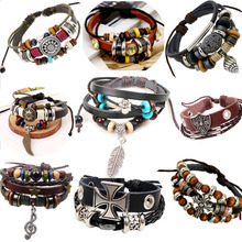 2015 new arrival unique black leather charm lobster clasp Zinc Alloy bracelet for men