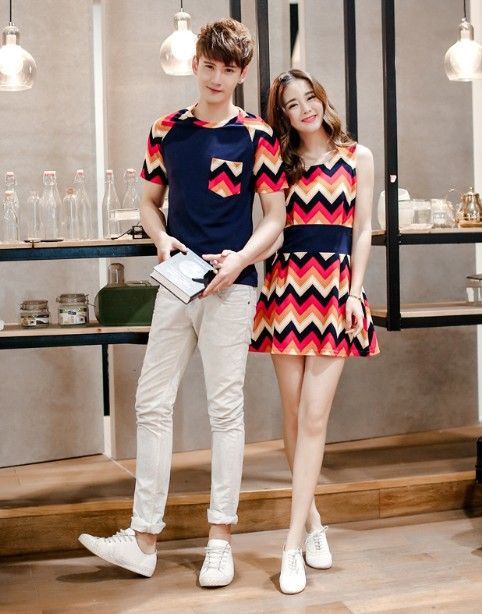 Geometric 2015 korean couple shirts fashion for lovers national pattern matching couple clothes couple summer clothes(China (Mainland))