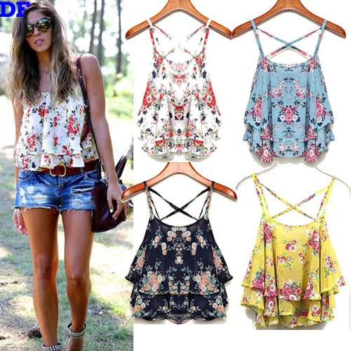 Chiffon Women Tops Fashion 2015 Summer New Crop Top Floral Print Shirts Strapless Sexy Bustier Crop Top Fitness Women Camis Sale(China (Mainland))