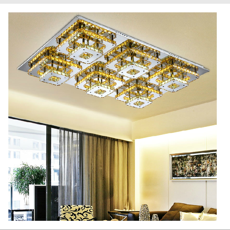 Modern Led Remote Control Square Champagne Crystal Ceiling Lights Fixture Bedroom Led Wireless Kitchen Ceiling Plafond Lamp<br><br>Aliexpress