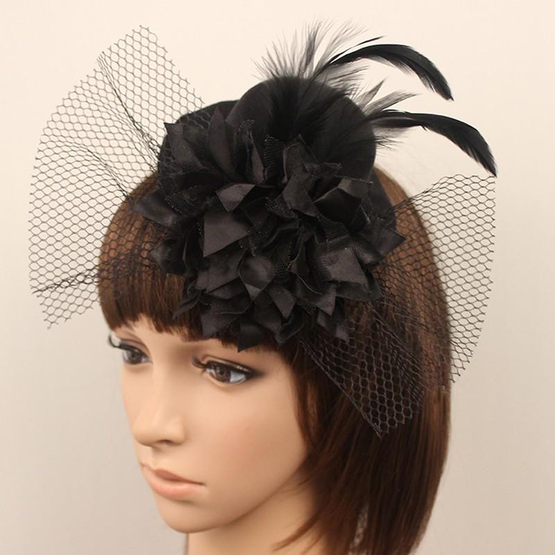 2016 горячих женщин черный ну вечеринку коктейль люкс перо чародей мини-шляпа головные уборы элегантные свадебные услышать шляпа в наличии 18055