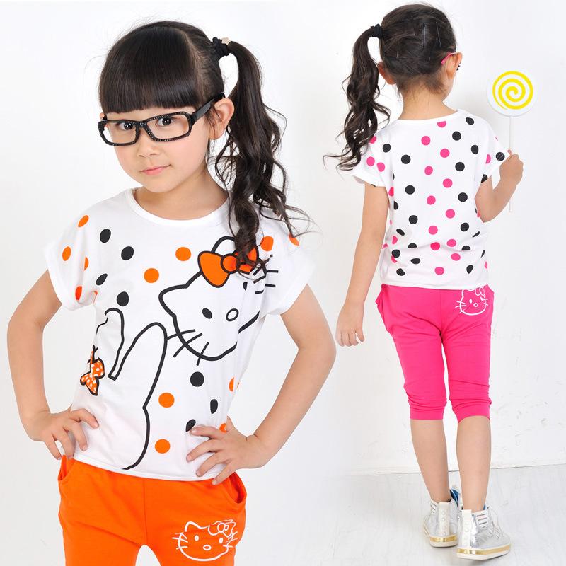 2016 New Summer Cute Cartoon Baby Clothing Sets Toddler Girl Clothing Hello Kitty Kids Clothes Sets O Neck T-shirt + Shorts(China (Mainland))
