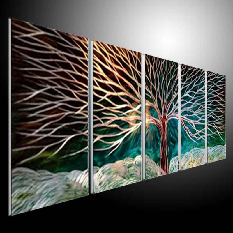 Metal sculpture wall art green tree original abstract wall for Deco metal mural