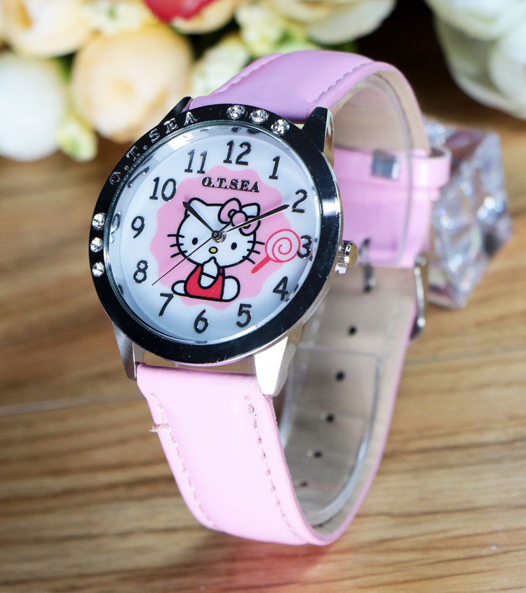 New Leather Brand Watches Children Girl Women Casual Fashion Quartz Watch Hello Kitty Cartoon Wrist Watch Clock(China (Mainland))