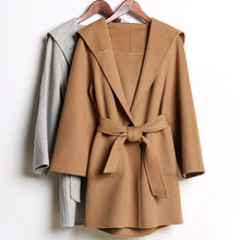 New arrival 2015 autumn winter European Brand women fashion cashmere coat designer hooded woolen pocket coats with belt S/M